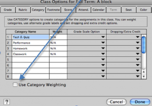 Weight Grading Scale Options